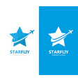 star and airplane logo combination vector image
