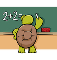 turtle at blackboard cartoon vector image