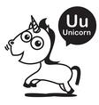 U Unicorn cartoon and alphabet for children to vector image