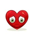 Emoticon with big sad heart vector image vector image