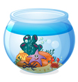 a water bowl and a fish vector image