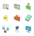 Hacking icons set cartoon style vector image