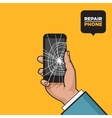 Smartphone with a cracked screen vector image
