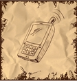 Old mobile phone on vintage background vector image vector image