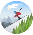 skier sliding from the snowy hill vector image