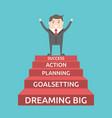 triumphant businessman on steps vector image