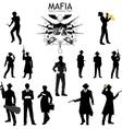 Male characters Silhouettes retro Mafia set vector image