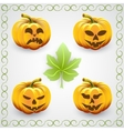 set of orange halloween pumpkins and leaves vector image