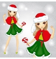 Fashion Girl Dressed As Santa Claus Holding Candy vector image