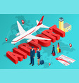 isometric airport travel concept the passenger vector image