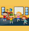 students having fun in classroom vector image