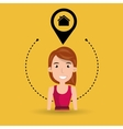 woman house pin location vector image