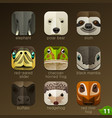 animal faces for app icons-set 11 vector image vector image