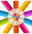 Colorful rainbow pencil circle vector image