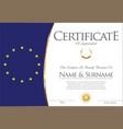certificate or diploma european flag design vector image