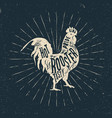 rooster label vintage styled vector image