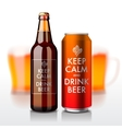 Beer bottle and can with label - Keep Calm and vector image