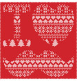 I love hipster nordic pattern on red background vector image