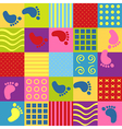 colorful seamless pattern with squares footprints vector image