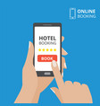 design concept of hotel booking online hand vector image