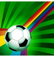 Football over a curved rainbow on green background vector image