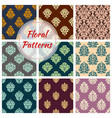 seamless floral patterns of flower ornament vector image