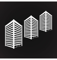 White three towering building on black vector image