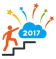 Man Steps To 2017 Dream Fireworks Flat Icon vector image