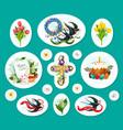 easter egg cartoon sticker and label set design vector image vector image