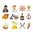 pirate colorful symbols on white flat vector image