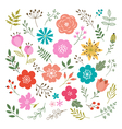 Set of floral elements vector image vector image