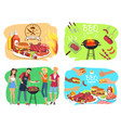 barbecue party with roasted meet set vector image