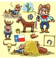 Cartoon cowboy set vector image