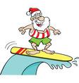 Cartoon Santa Claus riding a surfboard vector image