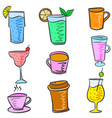 colorful various drink set doodles vector image