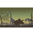 triceratopsand Brachiosaurus silhouette vector image
