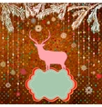 Vintage Christmas Deer Pattern Card vector image