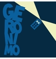 Police Box flying with word Geronimo vector image