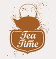 teapot with lettering vector image