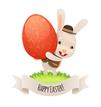 happy easter bunny with red egg vector image