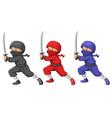 Three ninjas vector image vector image