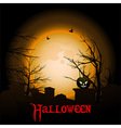 Halloween background with moon graveyard and text vector image vector image