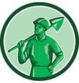 Green Miner Holding Shovel Circle Retro vector image vector image