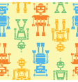 Cute retro robots color silhouette pattern vector image vector image