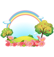 A hill with flowers and trees vector image