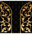 Black background with gold vintage ornament vector image