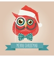 Christmas cute forest owl bird head logo vector image