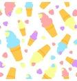 colorful cartoon waffle ice cream with strawberry vector image