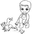 Coloring book child feeding duck vector image
