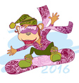 decorative monkey snowboarder vector image